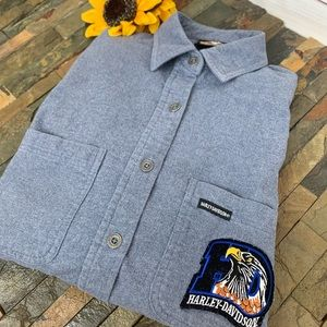 HARLEY-DAVIDSON Blue Soft Cotton Top with Eagle XS